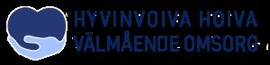 Hyvinvoiva hoiva -hankkeen logo. Kämmen jossa sydän, tekstinä hyvinvoiva hoiva - Välmående omsorg.